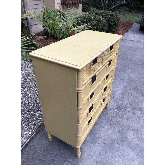 Campaign Stanley Yellow Faux Bamboo Dresser For Sale - Image 3 of 13