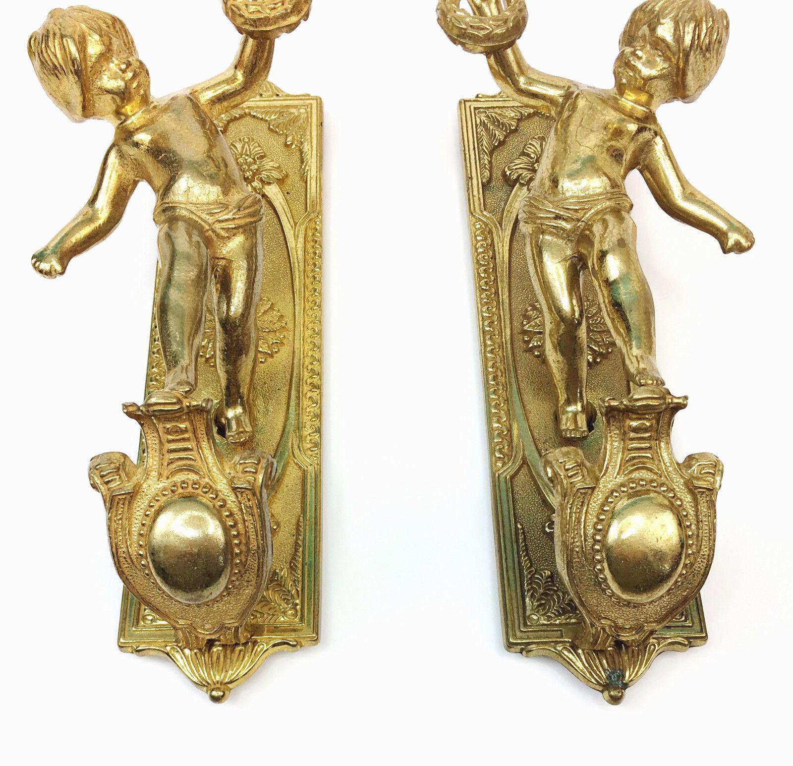 Vintage Italian Brass Cherub Candle Wall Sconces   A Pair   Image 2 Of 5