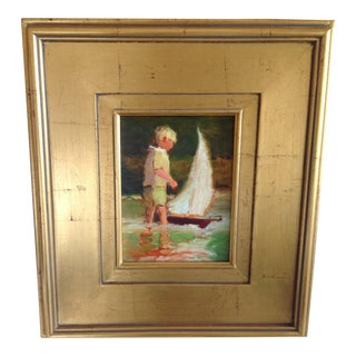 Contemporary Impressionist Style Portrait of Boy and Boat Oil Painting by Tom Ross, Framed For Sale
