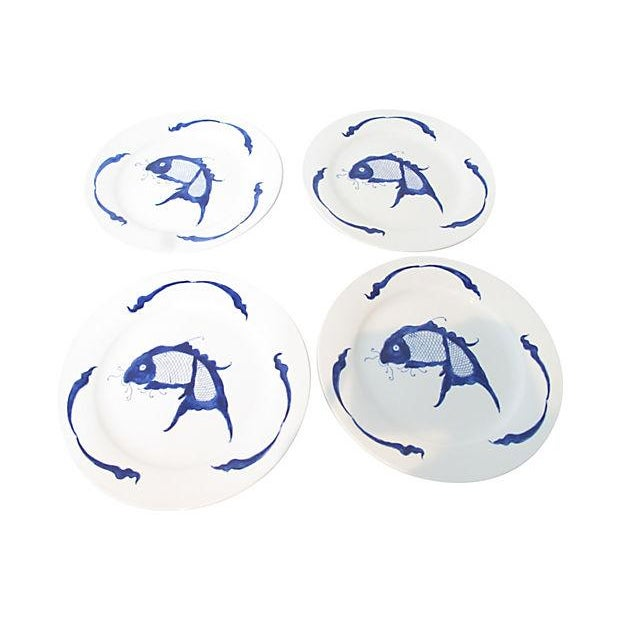Chinese Fish Motif Plates- Set of 4 For Sale
