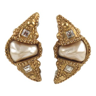 Alexis Lahellec Paris Signed Clip-On Earrings Gilt Resin Crescent With Pearl For Sale
