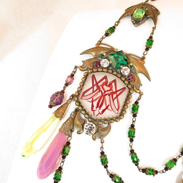 1920s Massive Czech Art Deco Egyptian Revival Painted Glass & Crystal Necklace 1920s For Sale - Image 5 of 12