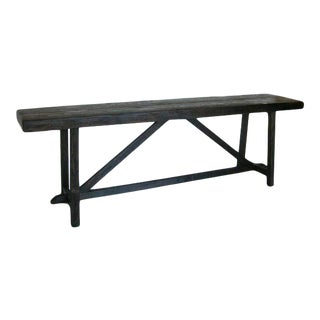Thick Top Rustic Reclaimed Wood Console with Upside down V For Sale