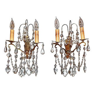 Antique Crystal French Bronze Sconces - A Pair For Sale