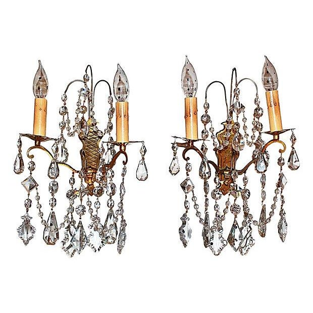 Antique Crystal French Bronze Sconces - A Pair - Image 1 of 6
