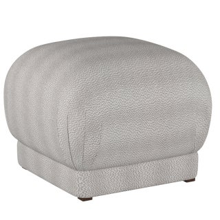 Square Ottoman in Plaything Pewter
