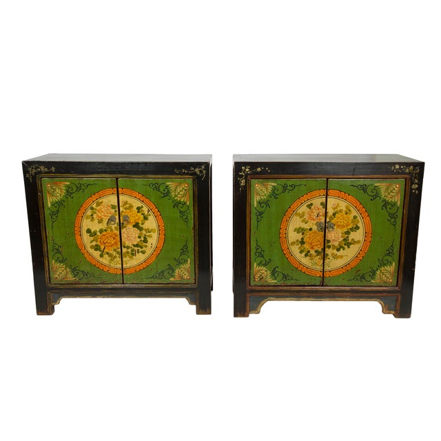 Gansu Style Hand-Painted Floral Cabinets - A Pair - Image 1 of 3