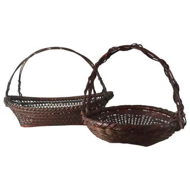 Woven Japanese Ikebana Baskets - A Pair - Image 1 of 11