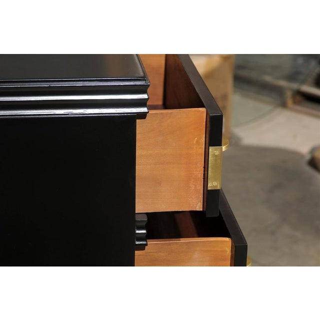 Restored Widdicomb Modern Commode in Black Lacquer For Sale - Image 9 of 11