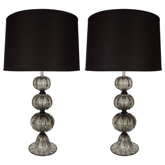 Metal Elegant Pair of Handblown Smoked Pewter Murano Glass Table Lamps For Sale - Image 7 of 7