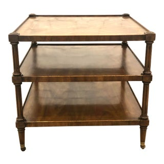 20th Century British Colonial Weiman Fruitwood 3-Tier Rolling Side Table For Sale