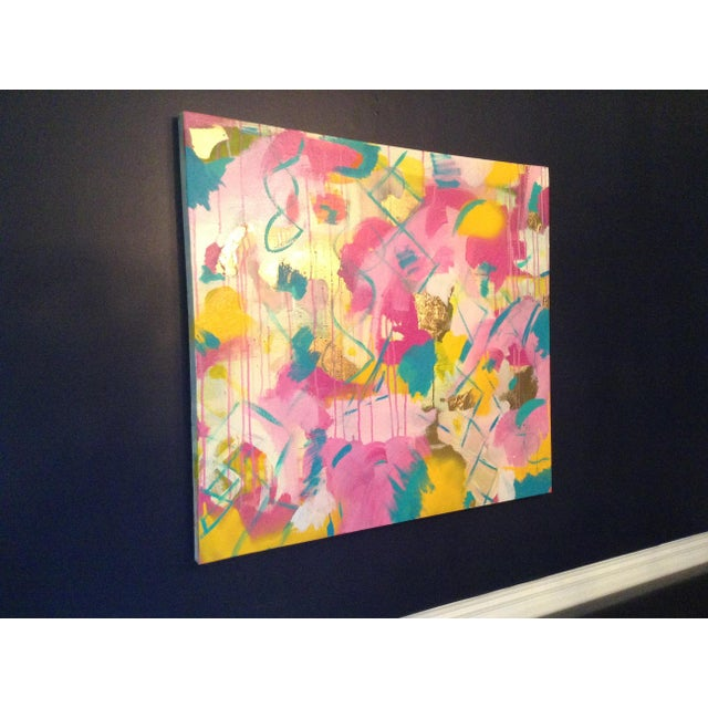 Acrylic and oil based with gold leaf on canvas hues of yellow teal pink. The piece was made in the 2010s.