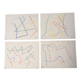 Original Robert Cooke Colored Marker Abstract Drawings Set 4 For Sale