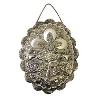 Vintage Small 900/1000 Turkish Coin Silver Repousse Mirror For Sale