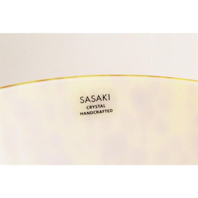 Modern 20th Century Sasaki Vetro Murano Yellow Speckle Pedestal Console Bowl For Sale - Image 3 of 7