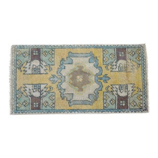Distressed Low Pile Turkish Yastik Petite Rug Hand Knotted Faded Mat - 17'' X 33'' For Sale