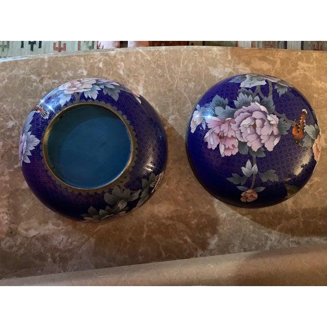 "Royal Blue Large ""Cloisonne"" Enamel Bronze Bowl With Top For Sale - Image 8 of 10"