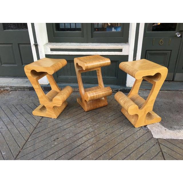 1980s Vintage Joe Manus Plywood Stools- Set of 3 For Sale - Image 11 of 11