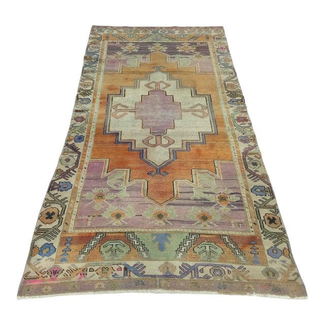 Vintage Tribal Turkish Oushak Anatolian Handmade Area Rug - 4′3″ × 9′3″ For Sale
