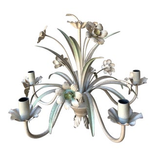 Vintage Italian Tole Chandelier With Daffodils For Sale