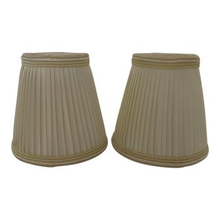 Pair of Cream Colored Pleated Silk Lampshades For Sale