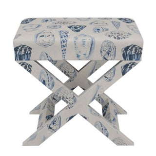 Scalamandre X Bench in Porcelain Coquina For Sale