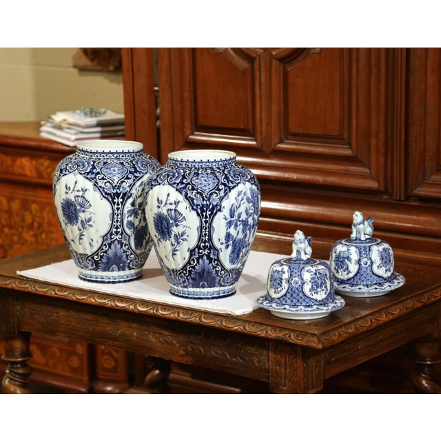 Delft Mid-20th Century Dutch Blue and White Royal Maastricht Delft Ginger Jars-a Pair For Sale - Image 4 of 9