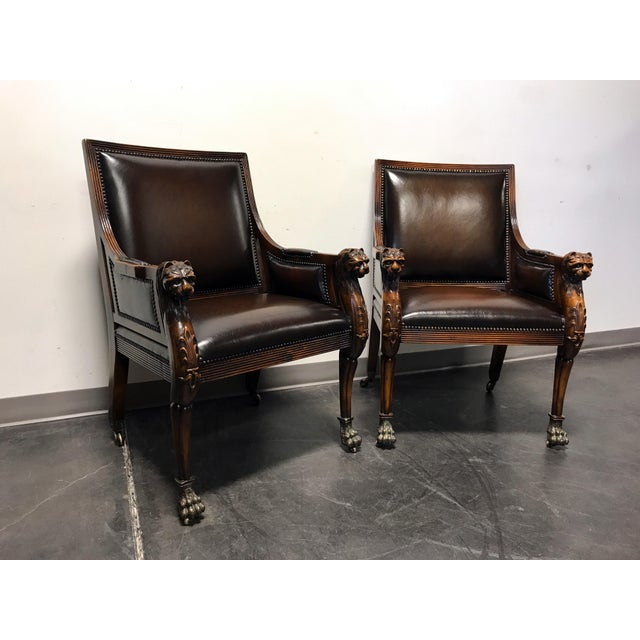 Theodore Alexander Leather Lion Head Chairs - A Pair - Image 2 of 11