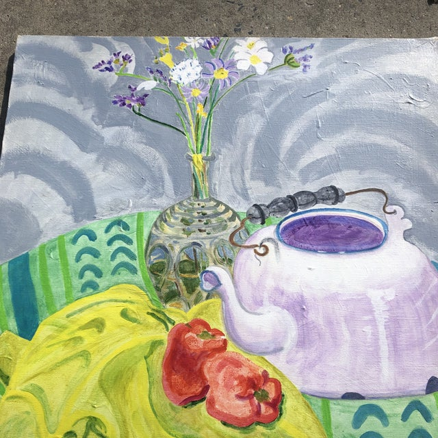 Contemporary Original Vintage Contemporary Impressionist Still Life Painting Matisse Style For Sale - Image 3 of 6