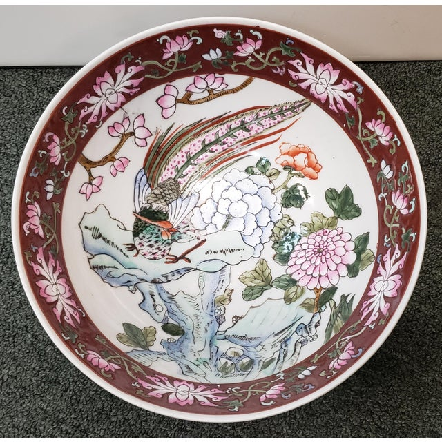Green Mid 20th Century Chinese Famille Verte Porcelain Peacock/Floral Motifs Bowl For Sale - Image 8 of 8