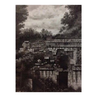 Framed Illustration Of Mayan Ruins For Sale