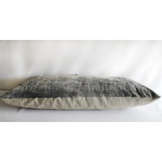 Antique Faded Gray and White Batik Lumbar Patchwork Pillow Preview