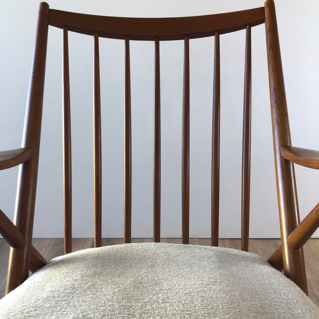 1960s Newly-Upholstered Frank Reenskaug Teak Rocking Chair for Bramin For Sale - Image 5 of 11