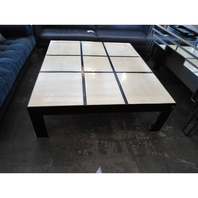 Garrison Rousseau Parchment & Bronze Wheeler Coffee Table - Image 3 of 7