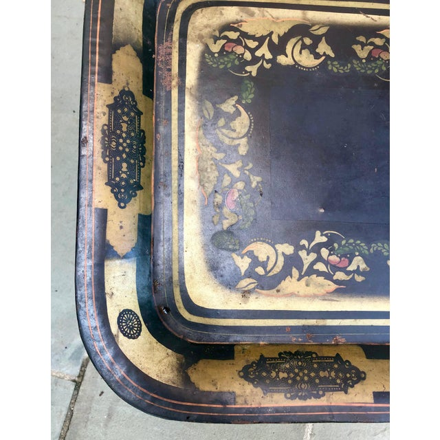 Metal 19th Century Early American Stenciled Tole Tray Table For Sale - Image 7 of 11