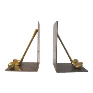 1970s Vintage Chrome & Brass Golf Bookends- a Pair For Sale