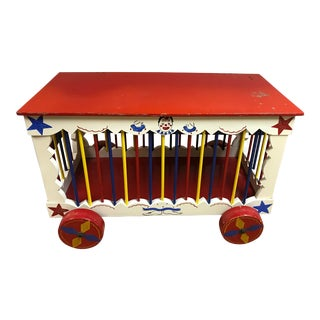 Vintage Circus Themed Wooden Toy Chest For Sale