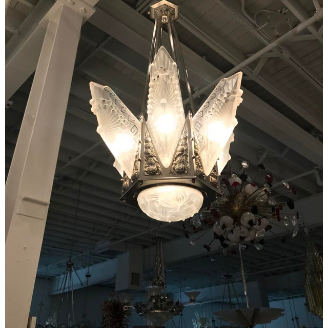 Charles Schneider Grand French Art Deco Geometric Chandelier Signed by Schneider For Sale - Image 4 of 13