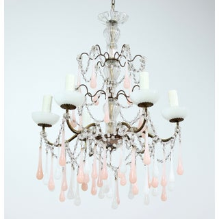 Italian Vintage Pink and White Opaline Beaded Chandelier Preview