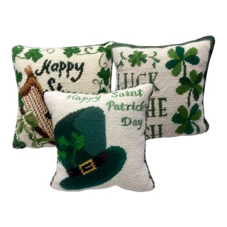 Vintage Luck of the Irish Shamrock Saint Patrick's Day Needlepoint Pillow – Set of 3 For Sale
