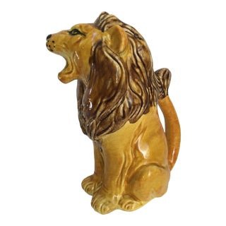 Vintage Italian Hand Painted Roaring Lion Pitcher For Sale
