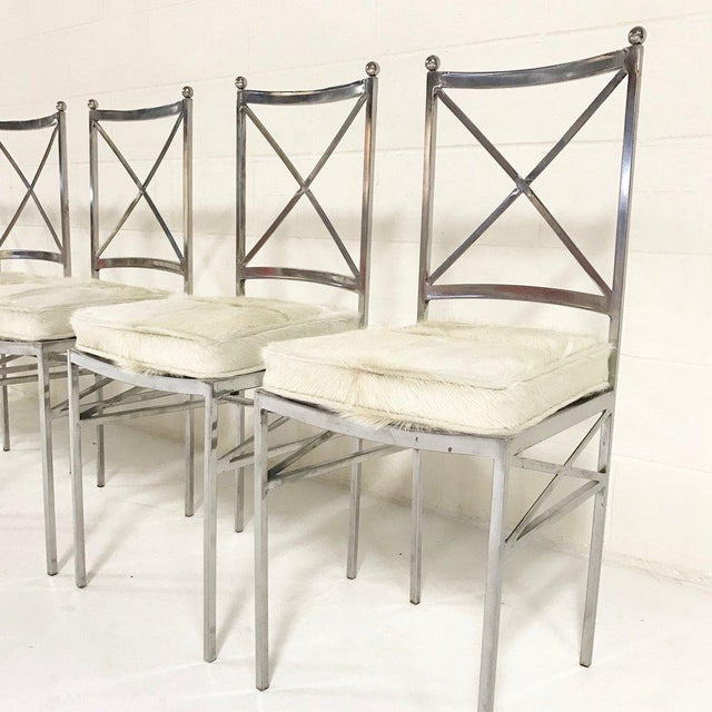 Set of 8 Mid-Century Swedish Polished Steel Dining Chairs With Custom Ivory Cowhide Cushions For Sale In Saint Louis - Image 6 of 10