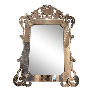 Ornate Brocade Wall Mirror For Sale