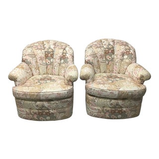 Vintage Channel Back Swivel Club Chairs - a Pair For Sale