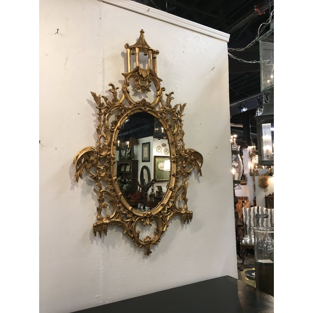 Giltwood Chinese Chippendale Style Giltwood Mirror For Sale - Image 7 of 8