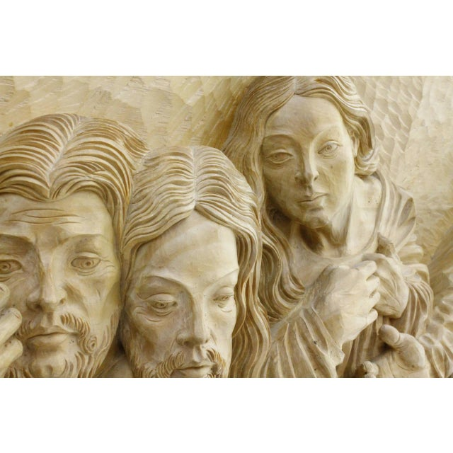 """Brown """"The Last Supper"""" Wood Carving Relief Masterpiece by Emrich Mussner, 1976 For Sale - Image 8 of 11"""
