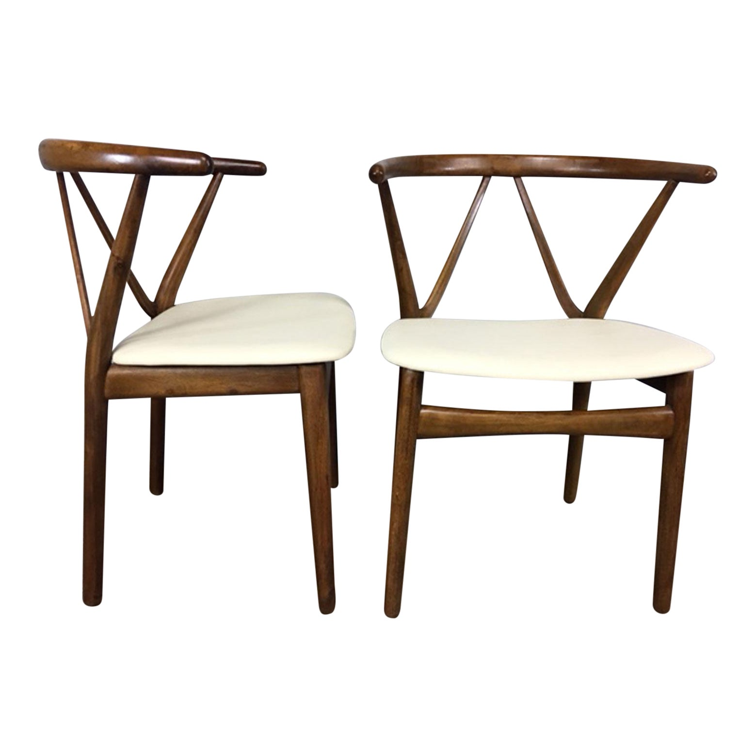 Henning Kjaernulf For Bruno Hansen Leather And Walnut Side Chairs A Pair Chairish