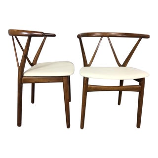 Henning Kjaernulf for Bruno Hansen Leather and Walnut Side Chairs- a Pair
