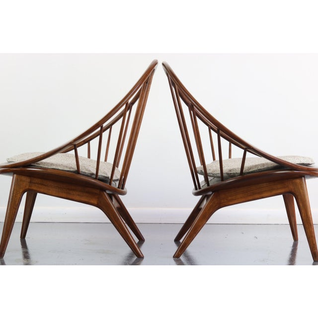 Ib Kofod-Larsen Ib Kofod-Larsen for Selig Hoop Chairs - a Pair of Two (2) For Sale - Image 4 of 7