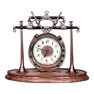 English Victorian Brass Horseshoe Clock For Sale